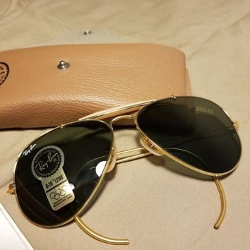 Vintage New Ray-Ban 58014 Made In USA Sunglasses Gold Metal Aviator Brown Case