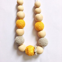 Cloudberry teething necklace, Natural teething toy, Nursing necklace