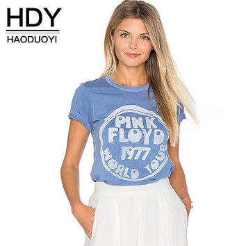 HDY Haoduoyi Solid Color Short Sleeve T-shirt Casual Letters Print O-neck Ladies T-Shirt Shaping Street Female T-Shirt