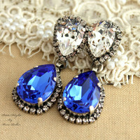 Sapphire Blue and white Silver Chandelier earring statement Swarovski wedding jewelry -  silver plated oxidized  real Swarovski crystals.