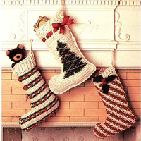 CROCHET CHRISTMAS STOCKING Pattern Vintage 70s Crochet Christmas Stocking Crochet Christmas Tree Candy Cane Stripe Popcorn Christmas Decor