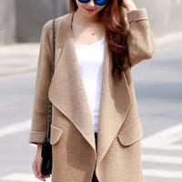 Knitted Lapel Casual Long Coat