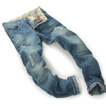 Brand Mens Jeans Straight Ripped Jeans For Men High Quality Button Fly Denim Bike Jeans Men Fashion Designer Pants Jean Homme