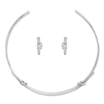 Silver-Tone Love Knot Choker Necklace and Earrings SetBe the first to write a reviewSKU# vs506-01