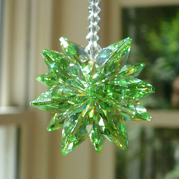 NEW.... Stella Peridot Short - Green Swarovski Crystal Suncatcher for Home or Car, 5.5 Inches Long