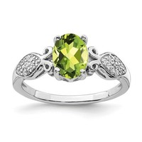 Sterling Silver Oval Peridot And White CZ Ring