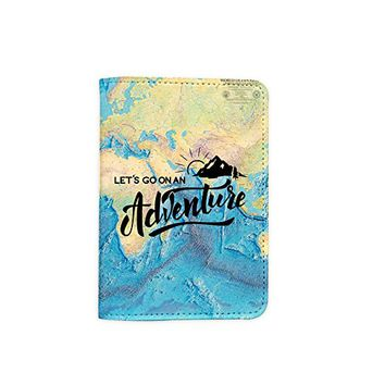 Let's Go On An Adventure Oil Color World Map Leather Passport Cover - Vintage Passport Wallet - Travel Accessory Gift - Travel Wallet for Women and Men _Mishkaa