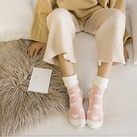 Flanging Love Design Fluffy Coral Velvet Thick Warm Socks For Women Colorful Fashion Winter Towel Floor Sleep Sock C1