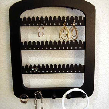 Jewelry Organizer / Earring Holder jewelry rack IN STOCK ! 5 pegs BLACK Wall Hanging