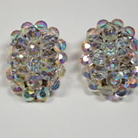 Vintage AB Rhinestone Cluster Clip Earrings Stunners Faceted AB Crystal Beads With Rhinestone Accents Special Occasion Wedding Jewelry
