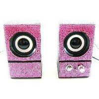 Pink Crystal Rhinestone Computer Speakers- Crystal Case-Computers & Electronics-Phones & Communications-Accessories
