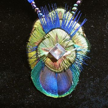 Feather Necklace Peacock Mandalla by DarklyngStudios on Etsy