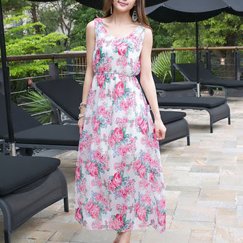 Red Bohemian Floral Chiffon Sleeveless Blouson A-line Maxi Dress