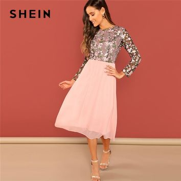 SHEIN Going Out Pink Flower Embroidered Contrast Mesh Bodice Round Neck High Waist Dress Women A-Line Long Elegant  Dresses