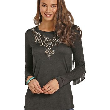 Rock and Roll Cowgirl Women's And Long Sleeve Fringe Tee - 48T3548