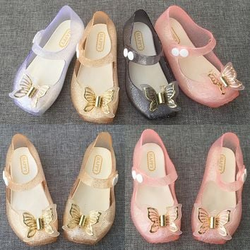 New Spring Autumn Butterfly Girls Jelly Shoes Mini Ballet Glitter PVC Children's Shoes Happy Fly Kids Toddler Flats Shoes