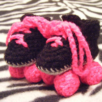 Crocheted baby roller derby rollerskates baby by LottiesCreations
