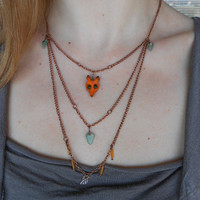Layered Necklace with Wooden Fox+Stones+Glass+Copper!~Vixen Dreams~ Fox Woodland Botanical Elvish Minimalist Necklace in Orange+Green+Copper