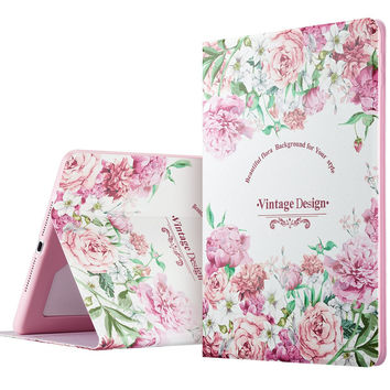 PU Leather Fashion Woman Girl Case Clear Soft Silicone Secret Garden Cover for iPad 6 / Air 2