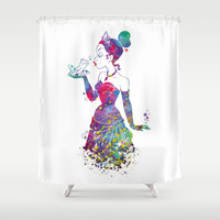 Princess Tiana The Princess and the Frog Watercolor Shower Curtain by Bitter Moon