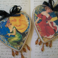 Halloween Ornaments - THE GOOD WITCH - Handmade Vintage Inspired Ornaments