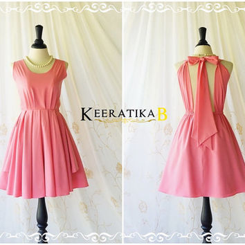 A Party Kate Cocktail Dress Cut Off Back Halter Dress Bubblegum Pink Backless Dress Wedding Bridesmaid Dress Pink Party Prom Dress XS-XL