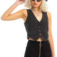 Vintage Y2K Poetry in Motion Pinstripe Top - XS
