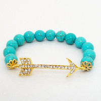 "Gold Arrow Head Beaded Elastic Blue Turquoise Bracelet, Fits up to 8.0"" Gift Under 30"