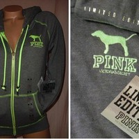 Victoria's Secret PINK Limited Edition HOODIE Neon Dog Logo Sweatshirt NWT M