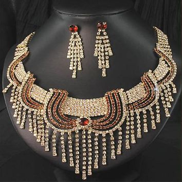 CHRAN Brand Gold Color Costume Wedding Jewelry Accessories Promotion Fashion Rhinestone Indian Bridal Jewelry Sets for Women
