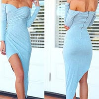 Blue Slash Collar Long Sleeve Asymmetric Dress