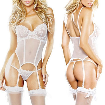 Women Sexy Lingerie Night Sleepwear Lace Dress&Garters&G-string Babydoll = 1705679620