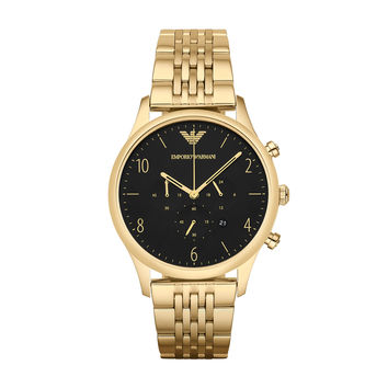 ARMANI WATCH BLACK & GOLD MEN DRESS STAINLESS STEEL BETA STAINLESS STEEL AR1893