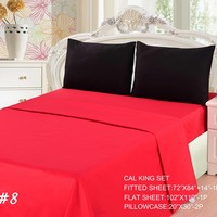 Tache 3 to 4 PC Cotton Vibrant Solid Red and Black Bed sheet set