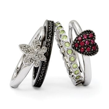 Two Tone Sterling Silver, Diamond & Gemstone Stackable Ring Set