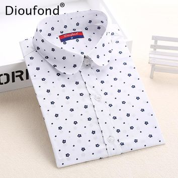Dioufond Floral Women Blouses Polka Dot  Blouse Long Sleeve Shirts