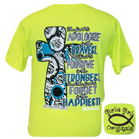 Girlie Girl Originals Apologize Hebrews 8:12 Cross Christian Bright T Shirt