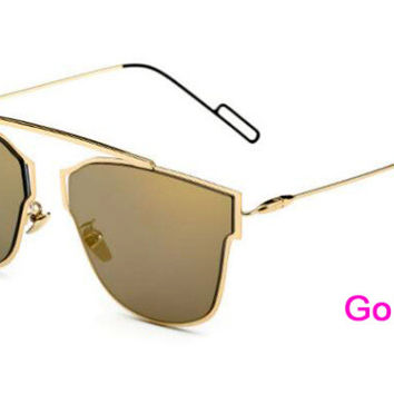 Flat Panel Lens Sunglasses  Gold