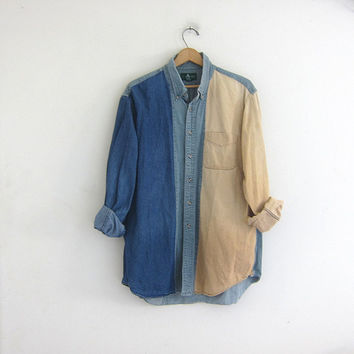 vintage jean button down boyfriend shirt. oversized slouchy shirt. cotton colorblock shirt. XL