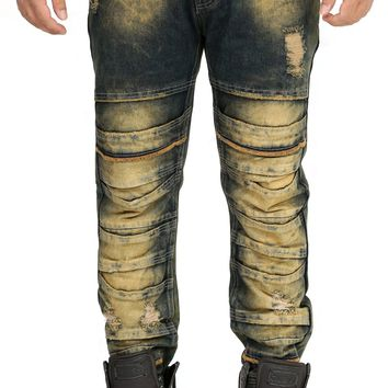 Distressed Stacked Jeans in Sand