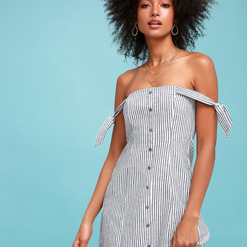 Seaside Lagoon Blue and White Striped Off-the-Shoulder Dress