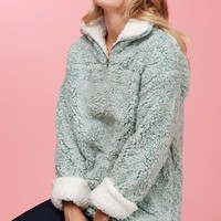 Fantastic Fawn Two Tone Sherpa Pullover in Sage