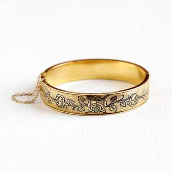 Vintage 12k Yellow Gold Filled Hinged Rose Flower Bangle - Late Art Deco Floral Vine Black Enamel Bracelet Jewelry Maker's Mark Hayward