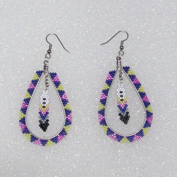 Southwestern Design Beaded Tear Drop Shaped Hoop Earrings With Beaded Feather Dangle