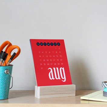 2014 Desk Calendar with wooden stand - 5x7 mini calendar in navy, teal, coral, lime