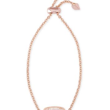 Kendra Scott Elaina Iridescent Drusy Rose Gold Adjustable Bolo Bracelet