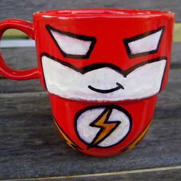 Hand Painted The Flash Stackable Mug by TheCornerGeekery on Etsy