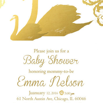 White and Gold Baby Shower Invitation Flower Baby Shower Invitation Customize Color girl shower invite printable digital diy