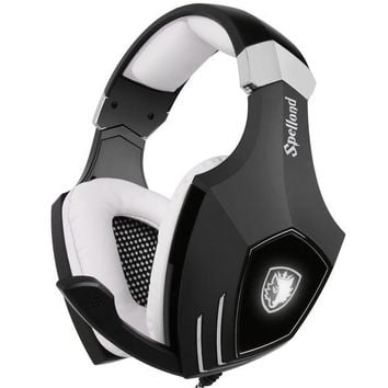 ONETOW USB Gaming Headset-SADES A60/OMG Computer Over Ear Stereo Heaphones With Microphone Noise Isolating Volume Control LED Light (Black+White) For PC & MAC