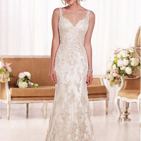 Sleeveless Appliqued Lace Wedding Dress V-Neck Beaded Wedding Gown 2016 Sexy Spaghetti Straps Mermaid Marriage Gown 2132